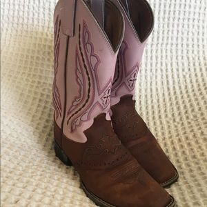 Justin Girls Western Boots Pink and Brown 1.5